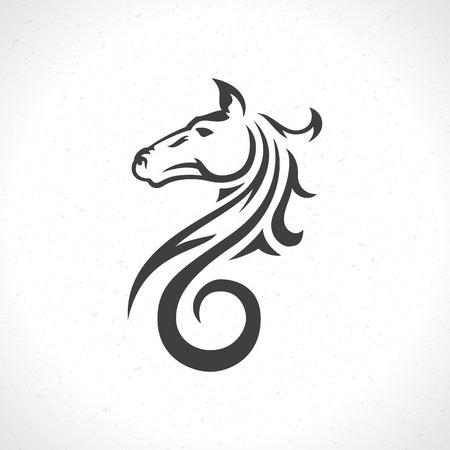 Icono de la cara del caballo plantilla emblema símbolo de la mascota para el diseño de negocios o una camisa. Vector Vintage Design Element. Foto de archivo - 39158024