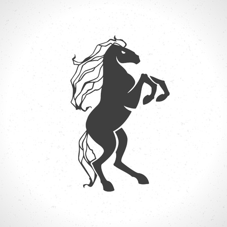 sport club: Horse icon emblem template mascot symbol for business or shirt design. Vector Vintage Design Element.