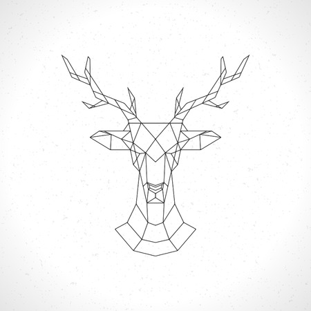 Deer head geometric lines silhouette isolated on white background vintage vector design element illustration