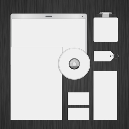 stationary set: White icon presentation corporate identity template Mock up design elements. Vector Business stationery objects, document, business card, label, cd, sale tag and other. Illustration