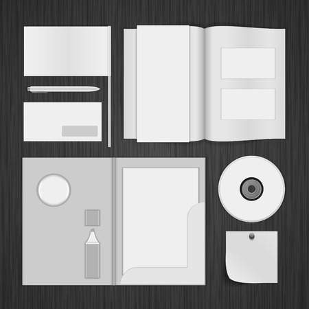 White Logotype presentation corporate identity template Mock up design elements. Vector Business stationery objects, document, business card, envelope, magazine folder and other. Vector
