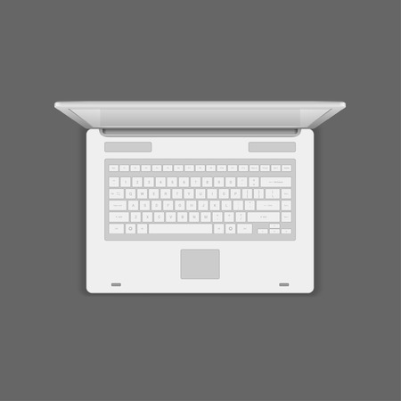 laptop vector: Laptop computer top view vector Illustration.