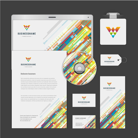 Abstract icon corporate identity template Mock up design elements. Vector clean white Business stationery, cd, envelope, document, business card, tablet computer, label, brochure. Illustration