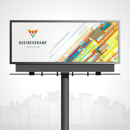 Billboard mock up for icon presentation and abstract icon identity with urban horizon vector background Çizim