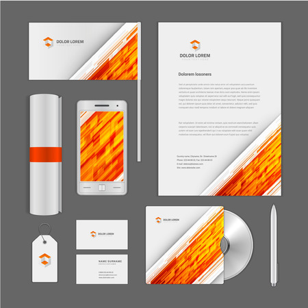 report cover: Abstract icon corporate identity template Mock up design elements. Vector clean white Business stationery, cd, flag, document, business card, smart phone, sale tag. Illustration