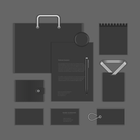 stationary set: Black Luxyry icon presentation corporate identity template Mock up design elements. Vector Business stationery objects, document, business card, package, notepad, badge, sale tag, purse and other. Illustration