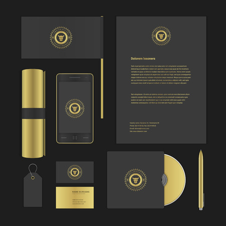 stationary set: Luxyry icon presentation corporate identity template Mock up design elements. Vector Business stationery objects, document, business card, flag, sale tag and other. Illustration