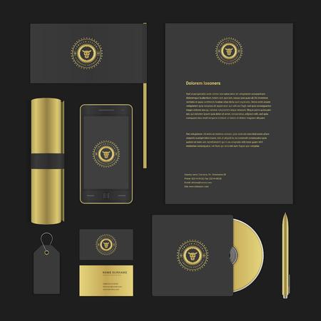 papírnictví: Luxyry ikona prezentační šablona corporate identity mock-up designové prvky. Vektorové obchodní psací předměty, dokument, Business Card, vlajky, prodej značky a další.