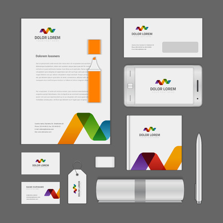 envelope icon: Abstract icon corporate identity template Mock up design elements. Vector clean white Business stationery, cd, envelope, document, business card.