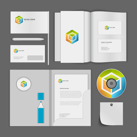 report cover: Abstract icon corporate identity template Mock up design elements. Vector white Business stationery objects, cd, envelope, document, business card, magazine, folder. Illustration