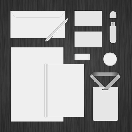 stationary set: White icon presentation corporate identity template Mock up design elements. Vector Business stationery objects, envelope, business card, envelope, badge, pen and other.