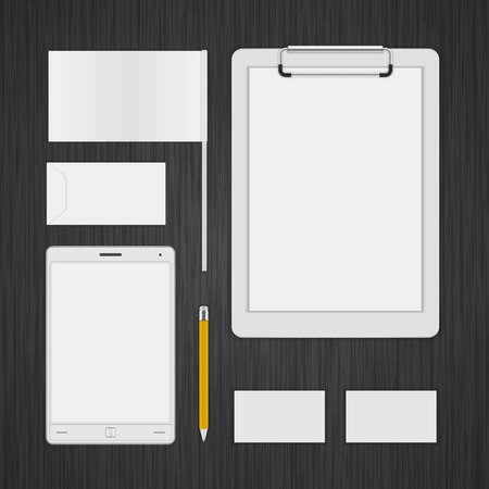 White icon presentation corporate identity template Mock up design elements. Vector Business stationery objects, envelope, business card, folder, flag, tablet computer and other. Vector