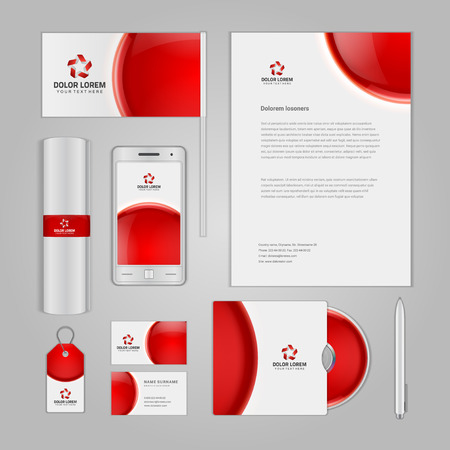 stationary set: Abstract Logotype corporate identity template Mock up design elements. Vector illustration white Business stationery objects.