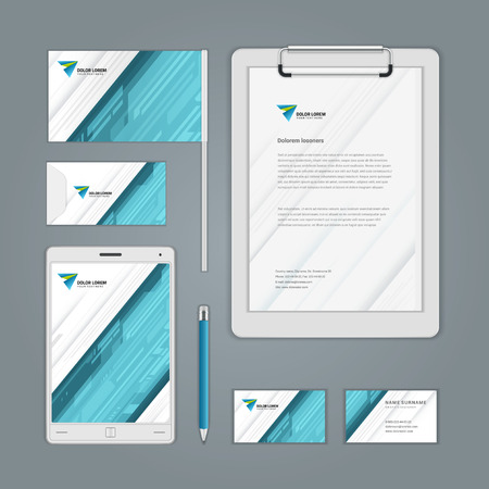 identity: Abstract icon corporate identity template Mock up design elements. Vector illustration white Business stationery objects.