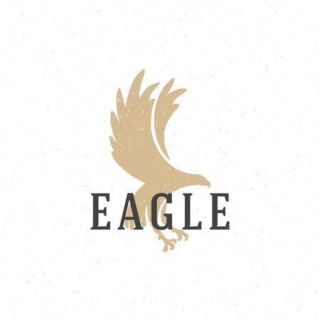 eagle flying: Flying Eagle hand drawn emblem template vector vintage design element.