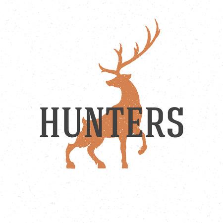cabeza: Mano ciervos emblema dibujado plantilla vector elemento de diseño vintage.