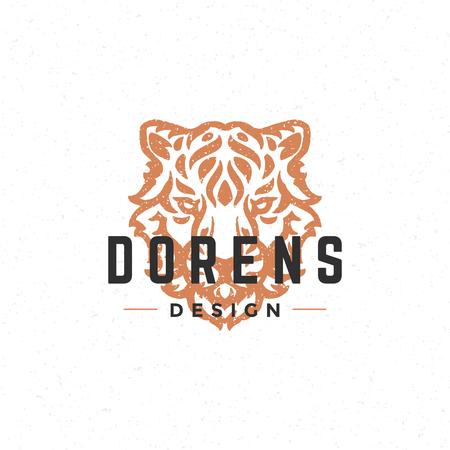 royal logo: Tiger face  hand drawn vintage design element for labels, badges, stickers, emblems vector illustration.