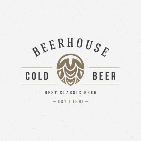 ビールのホップのロゴやバッジ デザイン要素ベクトル図  イラスト・ベクター素材