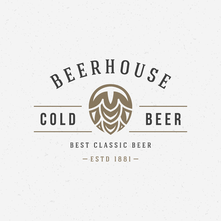 Beer hop logo or badge design element vector illustration Illustration