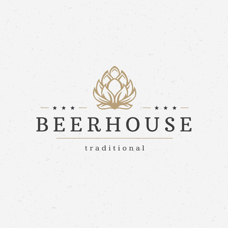 Beer hop   badge design element vector illustration Illustration