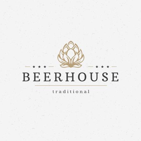 Bier hop badge design element vector illustratie Stock Illustratie
