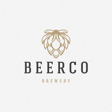 cerveza negra: Cerveza hop diseño insignia ilustración vector elemento