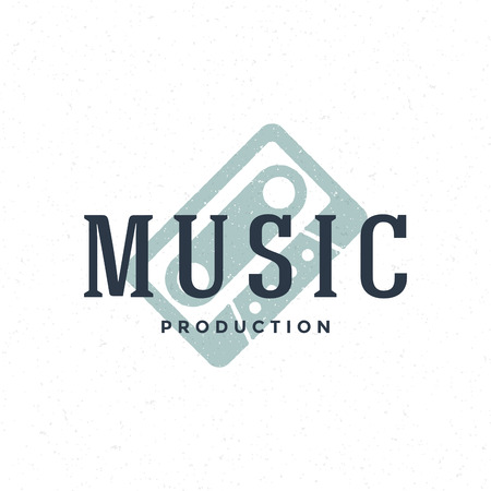 music production: Music type   hand drawn vintage design element for labels, badges, stickers, emblems vector illustration.
