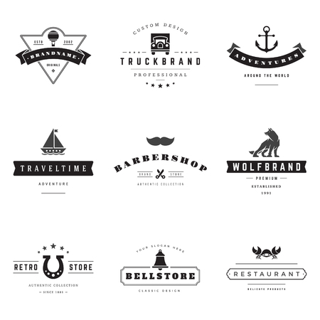 graphics design: Retro Logotypes vector set. Vintage graphics design elements for logos, identity, labels, badges, ribbons, arrows and other objects.