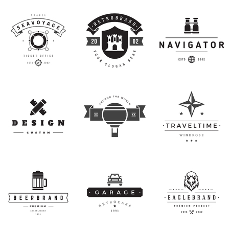 logotypes: Retro Logotypes vector set. Vintage graphics design elements for logos, identity, labels, badges, ribbons, arrows and other objects.