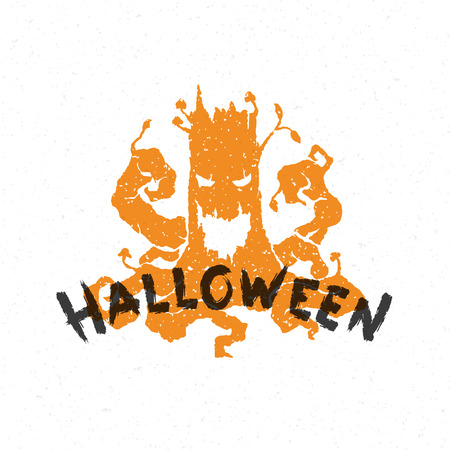 halloween message: Halloween message and stump monster vector illustration Illustration