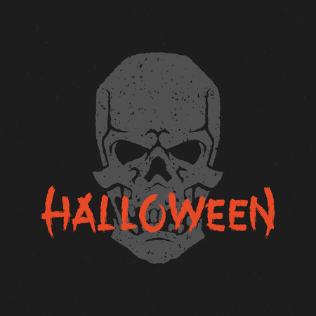halloween message: Halloween message and skull head vector illustration Illustration