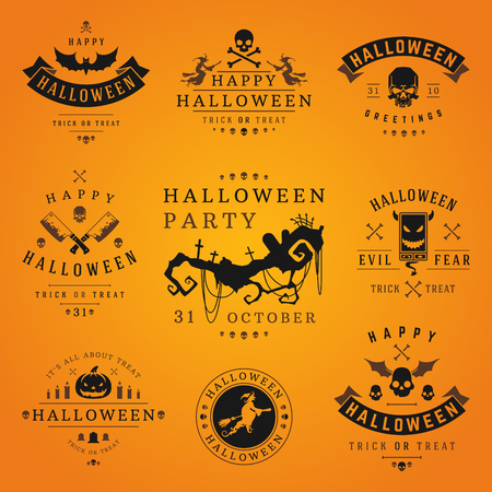 black background abstract: Happy Halloween day labels and badges design collection vector illustration