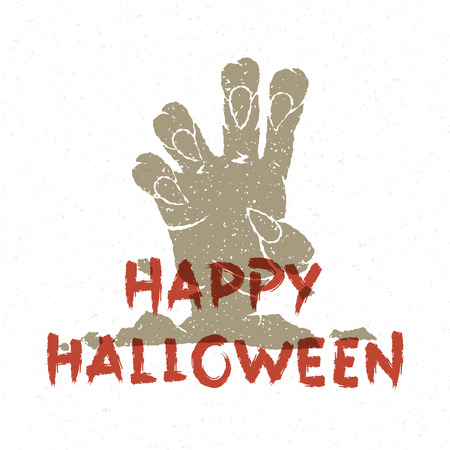coming out: Halloween zombie hand coming out from grave vector illustration