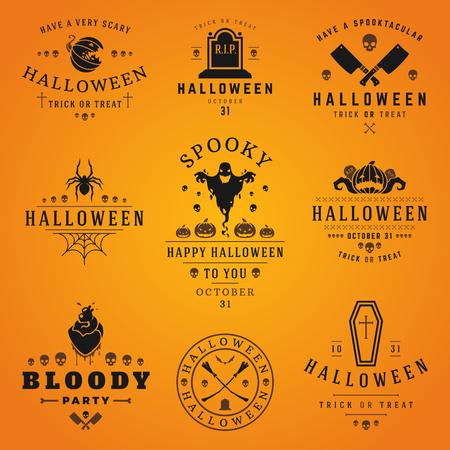 halloween pumpkin: Happy Halloween day labels and badges design collection vector illustration