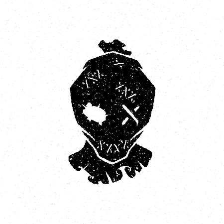 calabazas de halloween: ilustración vectorial de Halloween dibujado mano la cabeza de la silueta del espantapájaros