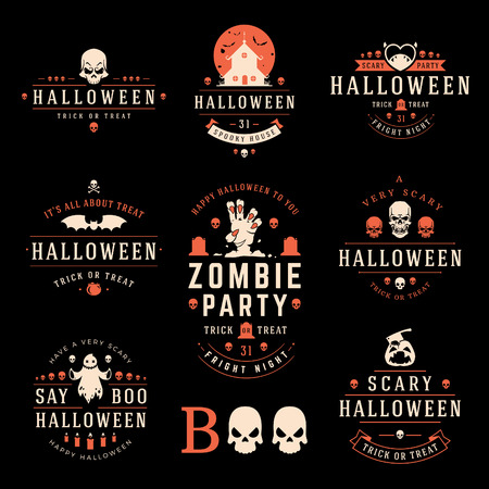 abstract grunge background: Happy Halloween day labels and badges design collection vector illustration