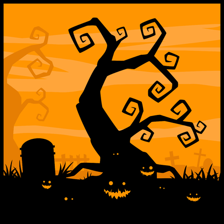 gourds: Halloween night vector background and evil pumpkin