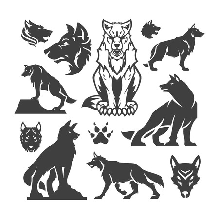 lobo: Set Wolfs elementos de diseño para la ilustración de diseño vectorial.