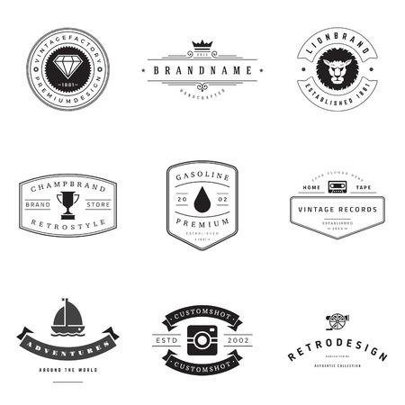 stamp design: Retro  vector set.