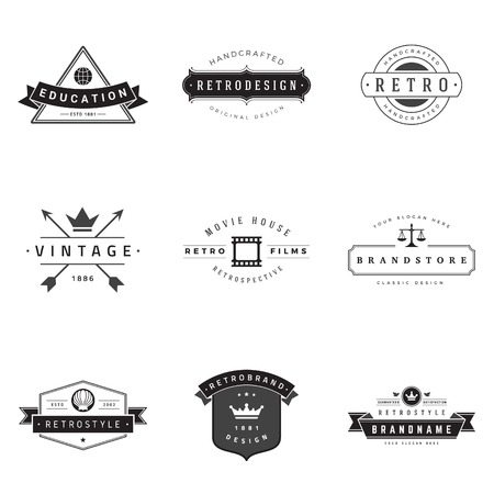 vintage banner: Retro  vector set. Illustration