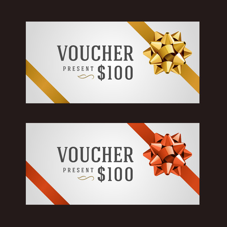 bow ribbon: Voucher template with ribbon and bow vintage design vector illustration Illustration