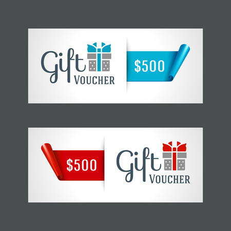 gift in celebration of a birth: Plantilla vale con caja de regalo y el arco del diseño de la vendimia ilustración vectorial