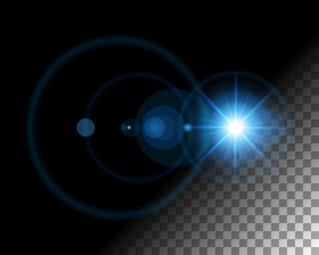 Abstract lens flare  lights on transparent background vector illustration. Easy replace use to any image.