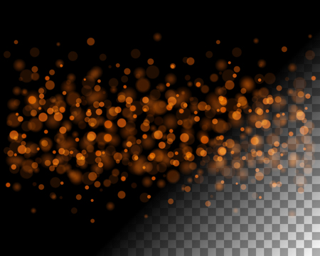 replace: Abstract bokeh lights and sparkles on transparent background vector illustration. Easy replace use to any image. Illustration