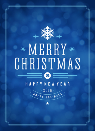 blue vintage background: Christmas lights and typography label design vector background. Greeting card or invitation and holidays wishes. Illustration