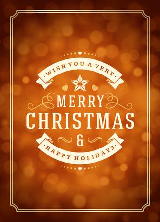 tarjeta de invitacion: Las luces de Navidad y la etiqueta de la tipograf�a de dise�o de vectores de fondo. Tarjeta de felicitaci�n o invitaci�n deseos y festivos.