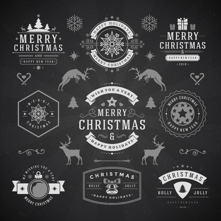 wish of happy holidays: Merry Christmas And Happy New Year Wishes Typographic Labels and Badges set, Vintage decorations, objects, symbols and elements, vector illustration on blackboard Illustration