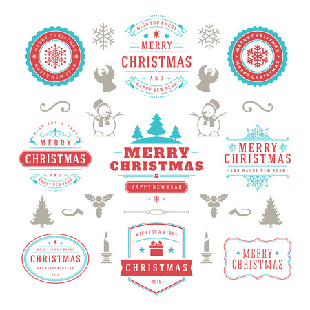 badge: Merry Christmas And Happy New Year Wishes Typographic Labels and Badges set, Vintage decorations, objects, symbols and elements, vector illustration