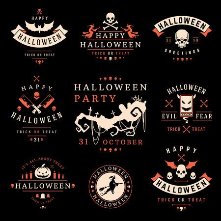 Set Vintage Happy Halloween Badges and Labels vector design elements