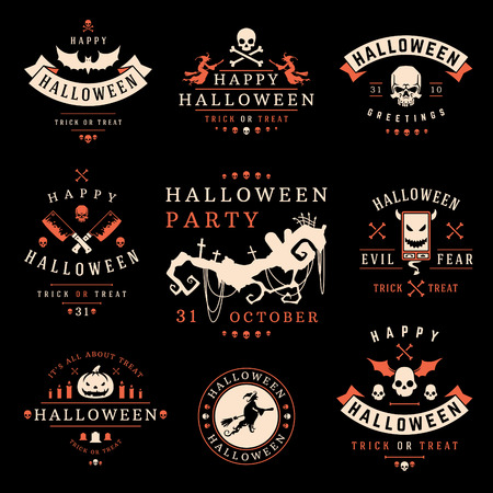 Set Vintage Happy Halloween Badges en Labels vectorontwerpelementen Stock Illustratie